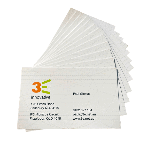 3E Business cards laid out
